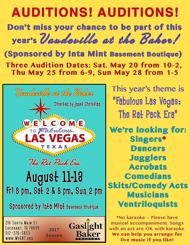 Auditions - Vaudeville – Gaslight-Baker Theatre